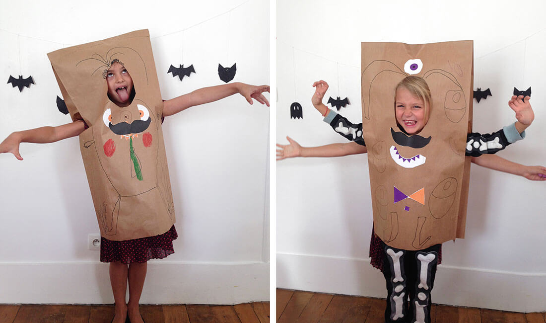 Scaring monsters costumes with bread bags for an halloween party