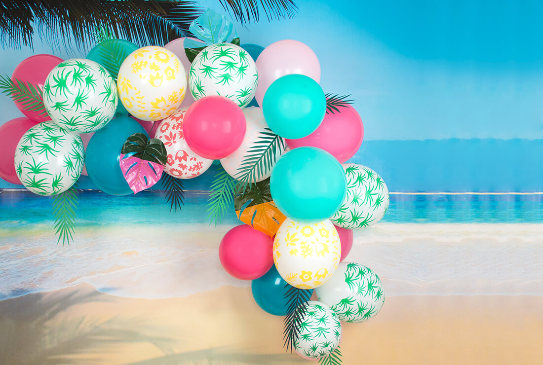 tropical balloons arch