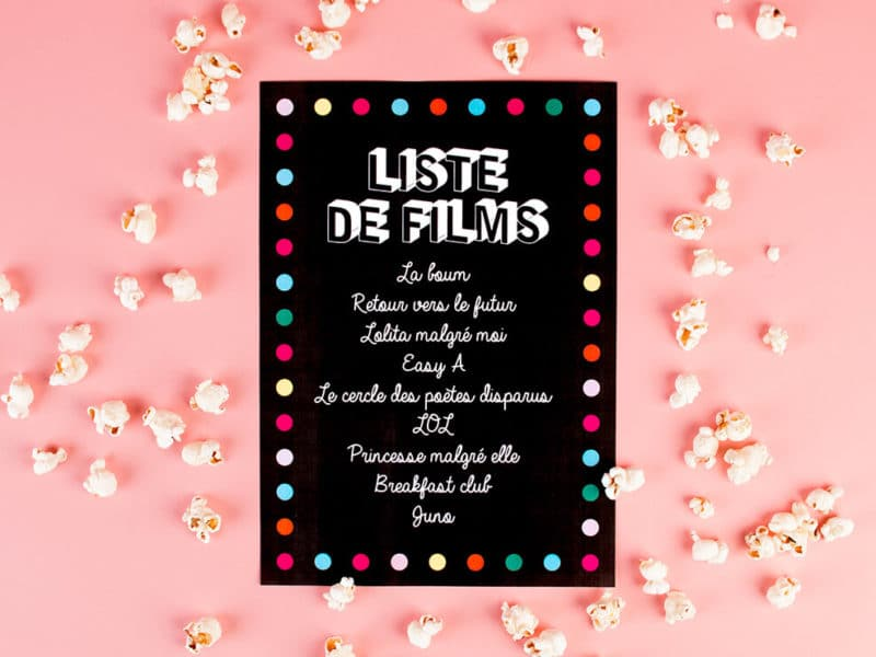 DIY liste de films pyjama party