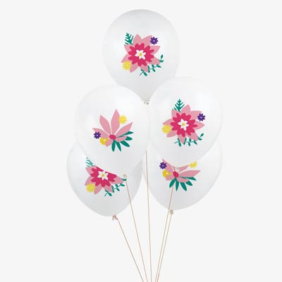 5 ballons de baudruche fleurs - My Little Day - le blog